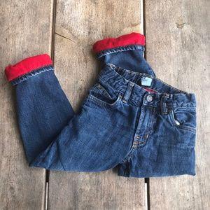 Gap Boys Red Fleece Lined Jeans Adjustable Waist 4
